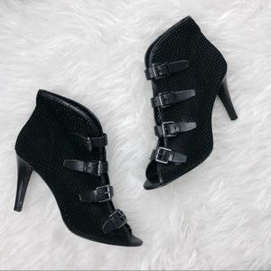 Ash Perforated Buckle Leather Heels 37.5